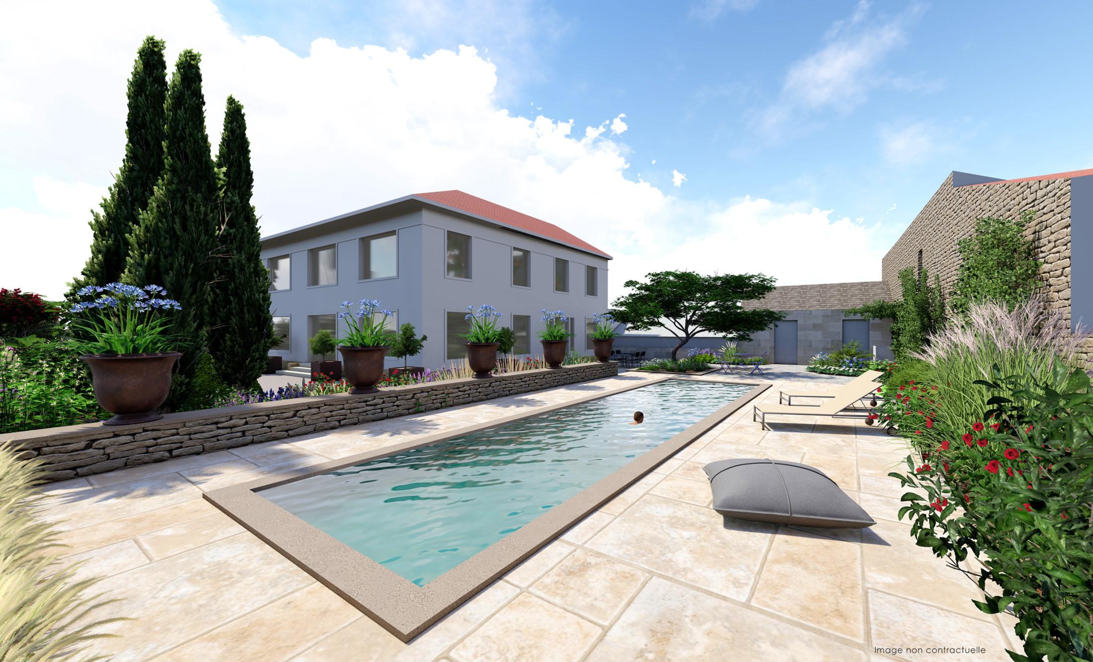 infographie paysagiste jardin piscine
