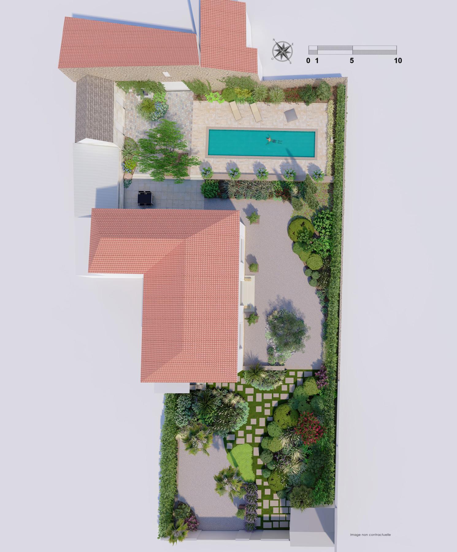 infographie paysagiste jardin plan masse texturé